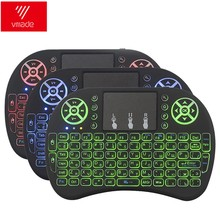 لوحة مفاتيح Vmade i8 بإضاءة خلفية باللغة الإنجليزية والروسية والإسبانية 3 ألوان ماوس هوائي صغير لاسلكي 2.4 جيجا هرتز لوحة اللمس للكمبيوتر المحمول في صندوق أندرويد X96