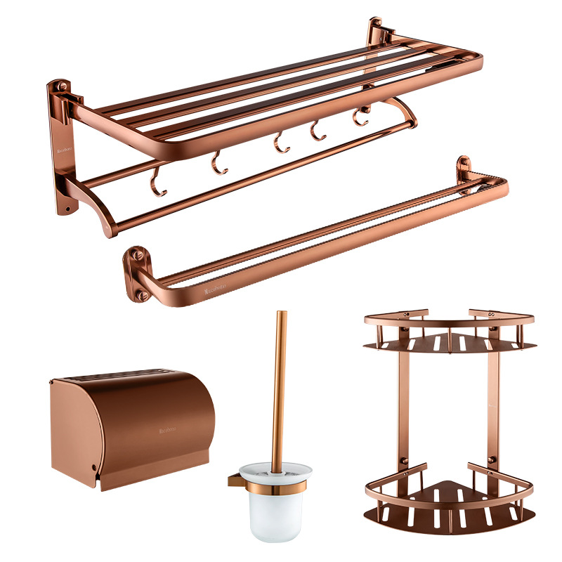 King Bathroom Hook Unit Five-Piece Towel Rack Toilet Brush Double Layer Triangle Basket Tissue Box Towel Rack Rose Gold