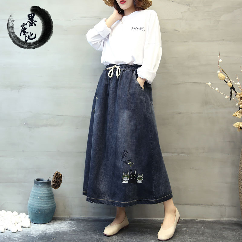 2018 Autumn Literature And Art Kitty Literature And Art Embroidered Waist Hugging Skirt Washing White Big Hemline Cowboy WOMEN'S