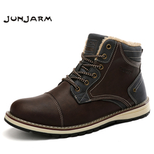 JUNJARM Men Boots Winter Man Shoes Ankle Snow Round Toe Plush Keep Warm Footwear Lace-Up Casual Trendy
