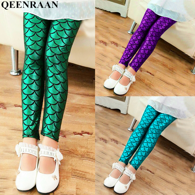 Spring Autumn Girls Leggings Mermaid Leggings Girls Pants Kids Girl Colorful Shiny Scale Pants Slim Trousers Childrens Leggings