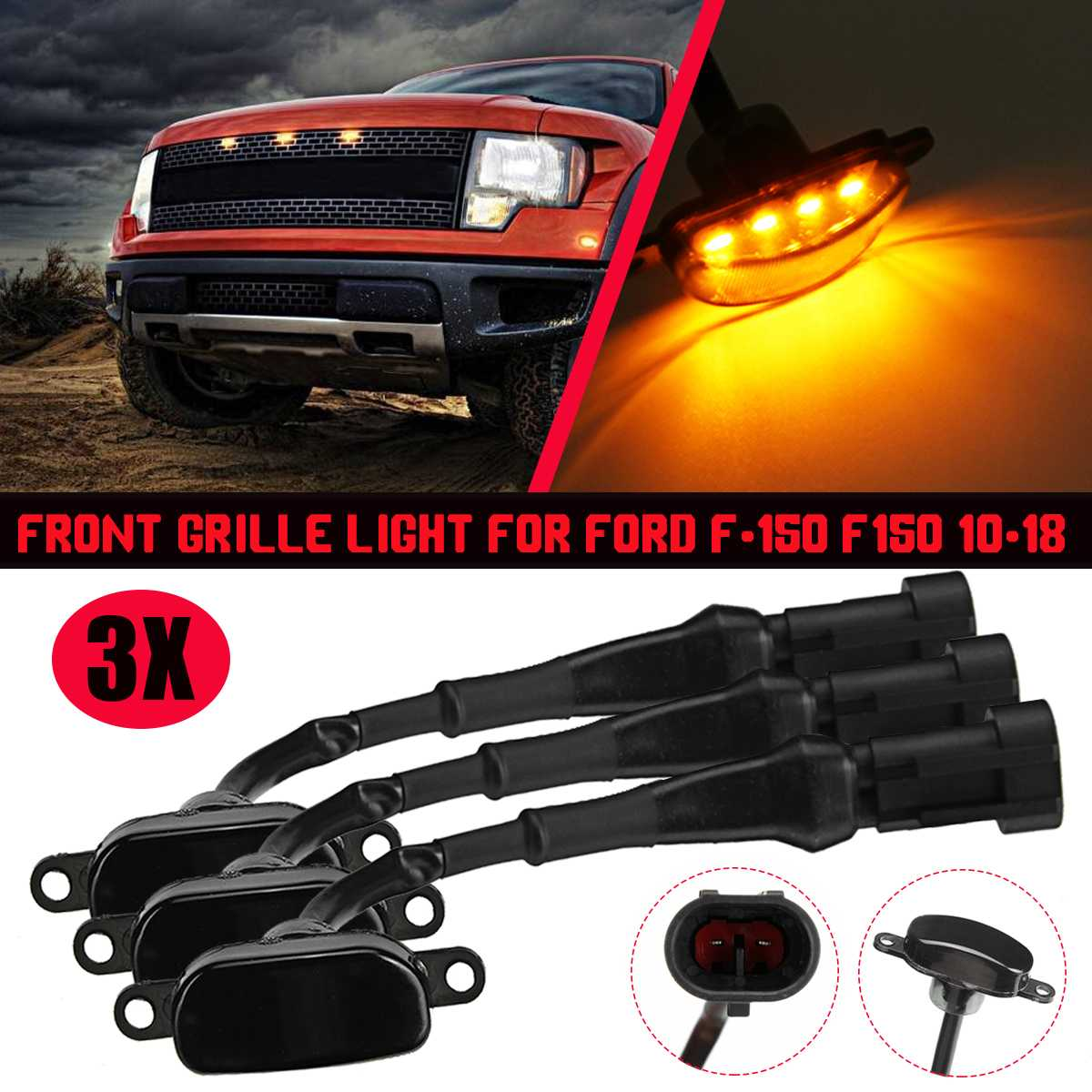 Car LED Front Grill Light Raptor Style Smoke Amber Grille Lamps For Ford F-150 F150 2010 2011 2012 2013 2014 2015 2016 2017 2018