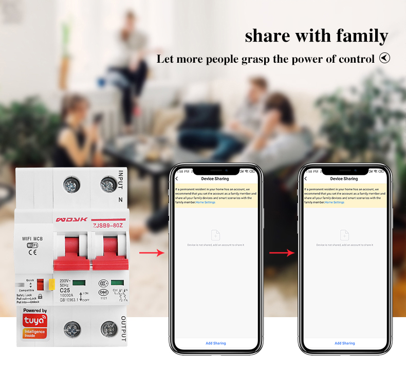 Smart Life(tuya) app 2p WiFi Smart Circuit Breaker overload short circuit protection with  Alexa google home for Smart Home