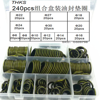 240pcs/box High Press Hydralic Rubber Oil Pip Bonded Washer Metal Rubber Oil Drain Plug Gasket Fit  Combined Washer Sealing Ring
