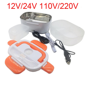 Portable 12/24V/110/220V Dual Use Home Truck Car Electric Heating Lunch Box Rice Food Warmer Container for Travel School Office