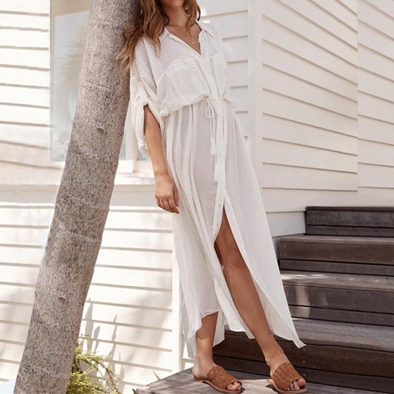 Vacation Beach Skirt Cotton Button Shirt Collar Bikini Beach Dress Woman Clothing Female Sunscreen Beach Cover Up Beach Wear