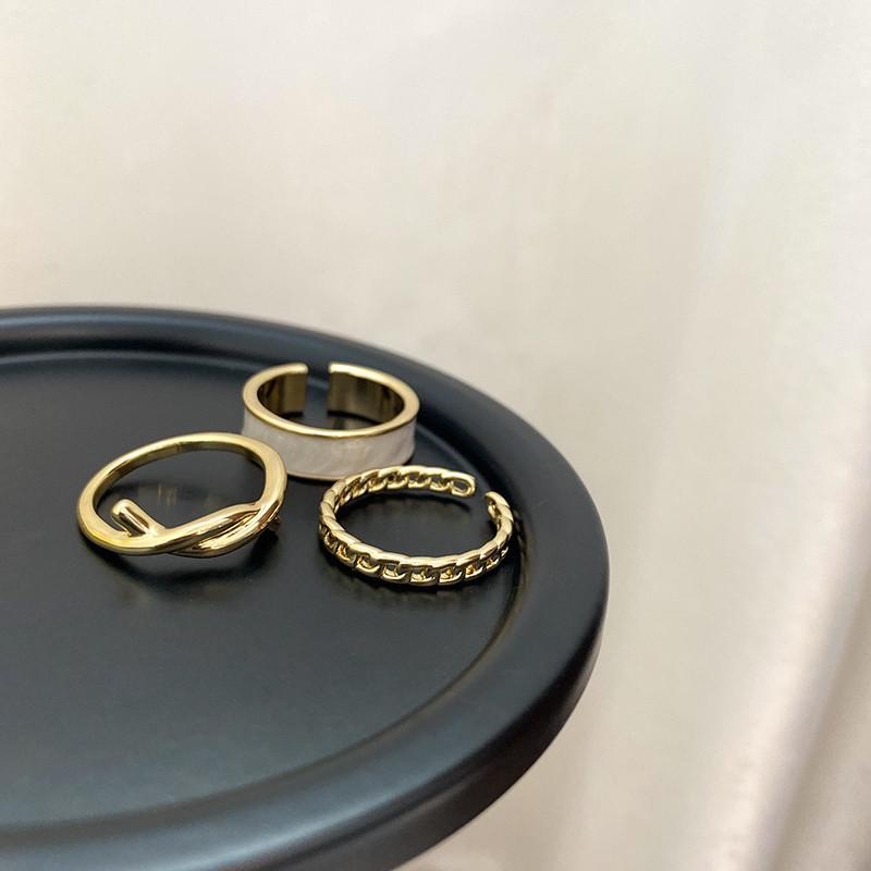 Bohemian 3pcs/set White Enamel Round Metal Ring Sets Geometric Twist Open Adjustable Rings Sets for Women Girl Jewelry Gifts