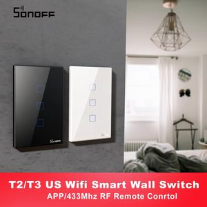 Image 1 - Itead SONOFF T2 T3 US TX Smart Wifi Wall Touch Switch With Border Smart Home Wifi Light Switch 1/2/3 Gang RF 433Mhz Remote