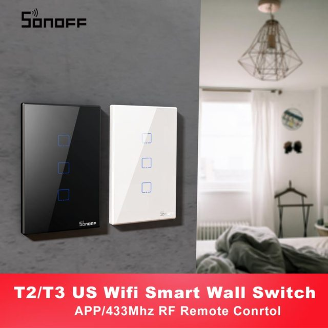 Itead SONOFF T2 T3 US TX Smart Wifi Wall Touch Switch With Border Smart Home Wifi Light Switch 1/2/3 Gang RF 433Mhz Remote