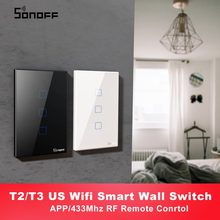 Itead SONOFF T2 T3 US TX WiFi แบบสมาร์ทพร้อมขอบ Smart Home WiFi Light Switch 1/2/3 GANG RF 433 MHz