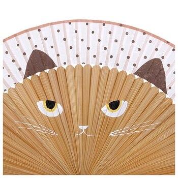 New Hand Drawn Hand-painted Cartoon Cat Fold Fan Kawaii Brown