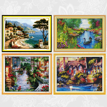 Tranquil landscape Patterns Counted Printed Canvas DIY Handwrok Cross Stitch Kits DMC Cross-stitch Embroidery Needlework