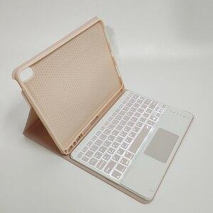 Image 3 - Klawiatura Bluetooth przypadku myszy dla iPad Air 4 10.9 8th Gen 2020 Trackpad podświetlenie rosyjski arabski hebrajski hiszpański Tablet klawiatura