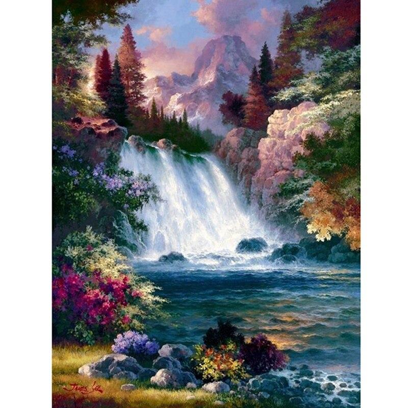 3d natureza cenário grânulo bordado pintura diamante completo cachoeira floresta 5d ponto cruz imagem strass