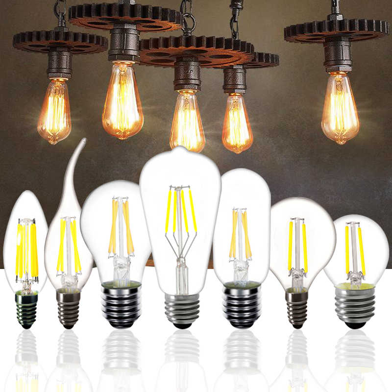 LED Bulb E27 ST64 2W 4W 6W 8W Dimmable E14 Flame Lamp C35 Candle Light Bulb G45 Retro 220V A60 Loft Home Decoration Light