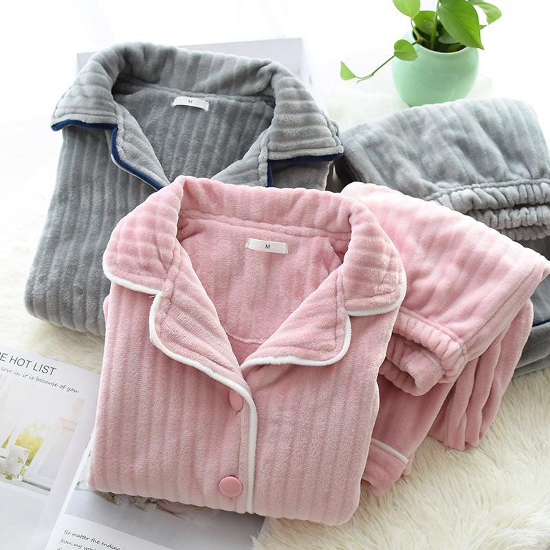 New Sale Thicken Flannel Couple Pajamas Sets Men And Women Winter Keep Warm Long Sleeve Simple Pyjamas Women Sleepwear