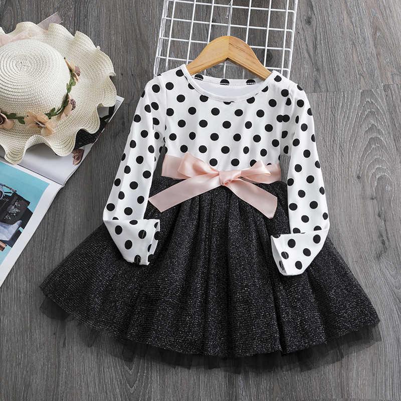 Sukienka z długim rękawem dla dziewczynek na co dzień ubrania dla dzieci 2 3 4 5 6 rok dla dzieci Tutu strój urodzinowy ubrania imprezowe dla dzieci odzież Vestidos