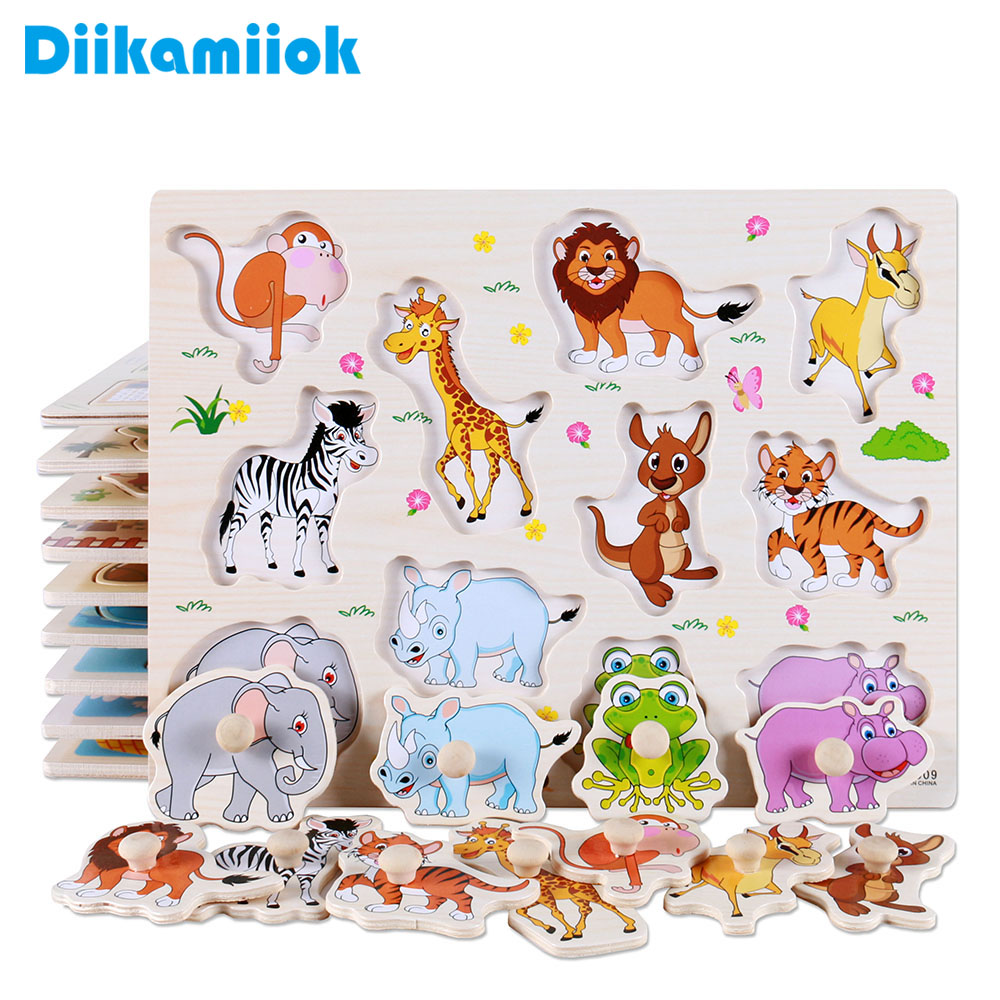 Hot Baby Learning Toys for Children Montessori Hand Grab Board Early Educational Toy Cartoon Vehicle/ Animal Wooden Puzzle Kids(China)