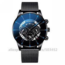 100 יח\חבילה חדש מגיע ז נבה שעון חלול רשת Montre Homme סיטונאי לוח שנה שעון עסקי פלדה בנד שעונים עבור גברים