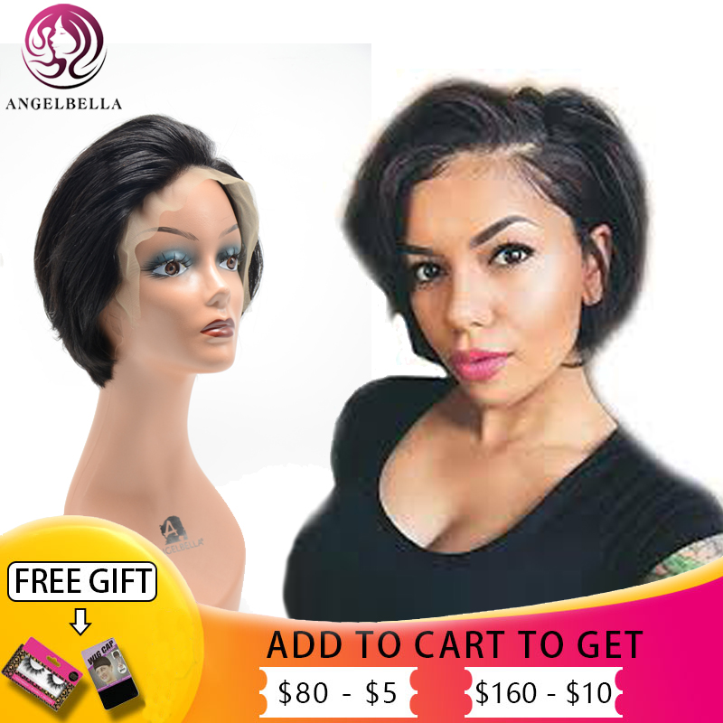 13x4 lace front human hair bob wig short straight Frontal lace wigs natural black design Wigs For black women