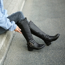 Boots Winter Women Shoes Black Big-Size Toe Round Brown New