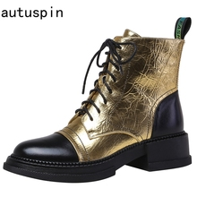 Platform-Shoes Lace-Up boots Gold Silver Winter Fashion Genuine-Leather Women Ankle Autuspin