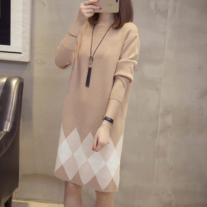 Image 4 - Plus Size Colorblock Knitted Dress 2019 Autumn Winter Clothes Korean Elegant Loose Long Sleeve Large Size Ladies Sweater Dresses