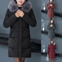Middle-Aged Hooded Fur Collar Down Coats Cotton Winter Jacket