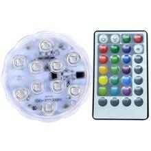 12 светодиодный круглый Цвет Изменение дома дистанционное управление бассейн синхронизации подводная лодка украшения низкий уровень шума RGB аквариум светильник