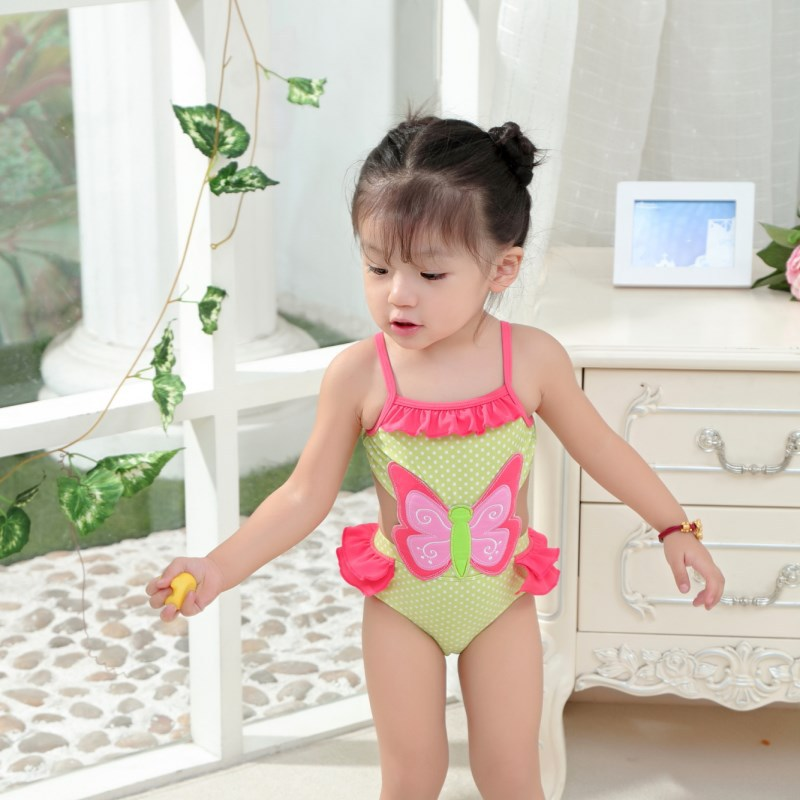 New Style KID'S Swimwear Big Boy Students Green Butterfly Hollow Out GIRL'S Spa Resort One-piece Swimwear INS