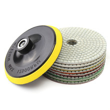 9 unids/set almohadillas de pulido de diamante Kit de 5 pulgadas 130mm húmedo/seco de piedra de granito de mármol de abrillantado para coche uso de discos