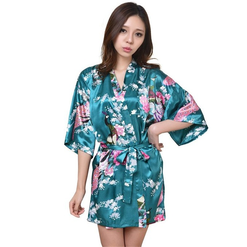 New Drak Green Sexy Mini Lady Summer Bath Robe Gown Silk Rayon Kimono Yukata Dress Flower Nightwear Size S M L XL XXL XXXL  A005