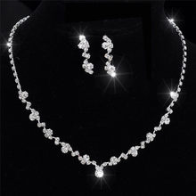 Silver Bridesmaid Crystal Necklace Earrings Set Wedding Bridal Jewelry Jewellery(China)