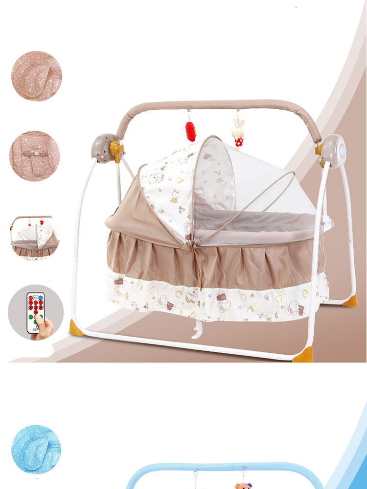 H0def07fd7ded4bc381815c67decc9835t For Newborns Bed Baby Electric Swing Newborn Bed Smart Cradle Children's Rocking Chair Bed Full Sets Cradle
