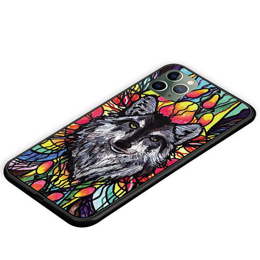Sói Mặt Trăng Đen Ốp Lưng TPU Cho iPhone 5 5S 6 6 S 7 8 Plus X XS XR 11 Pro Max