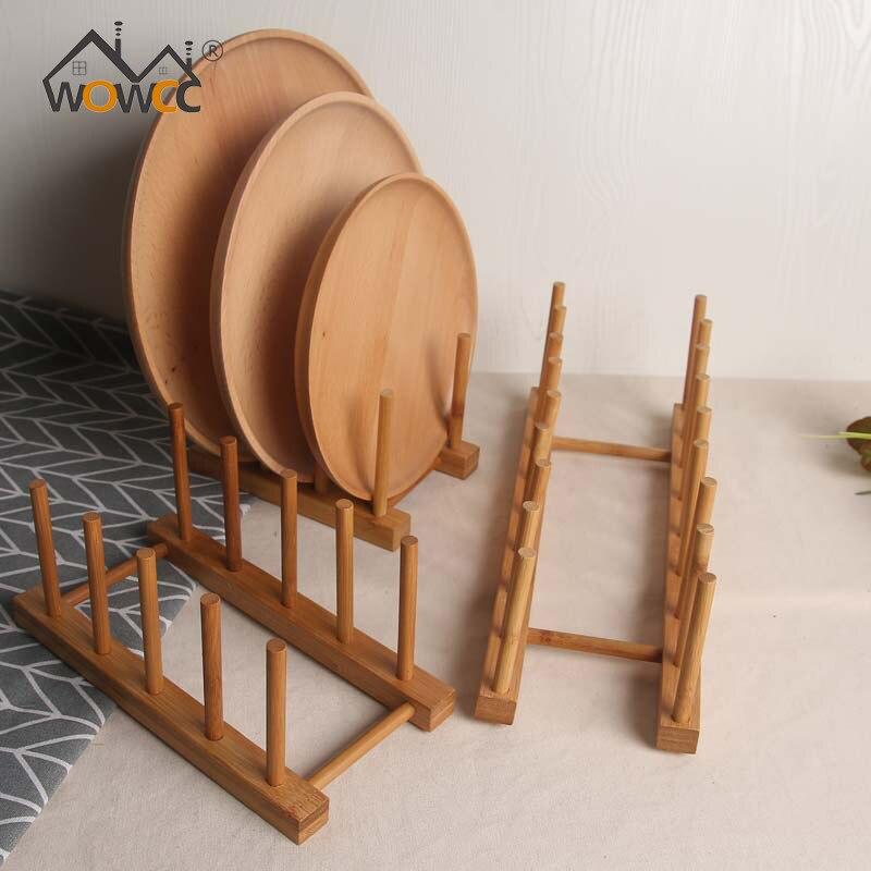 Plate Drainer Rack Bamboo Pot Lid Cover Holder Storage Shelf Bowl Cup Display Holder Pan Stand Kitchen Organizer Pot Lid Rack