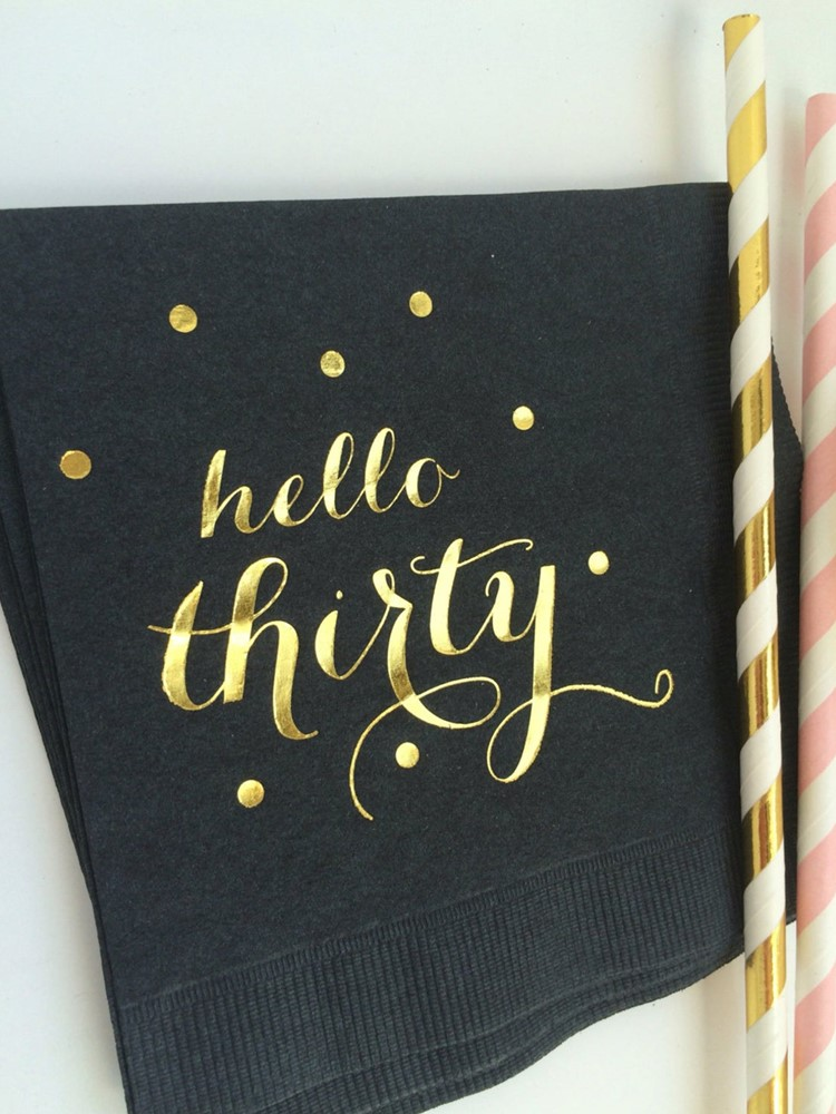 Custom Black with Metallic Gold Foil Printed Hello Thirty Paper Napkins Cocktail Beverage birthday party Baby shower Napkins
