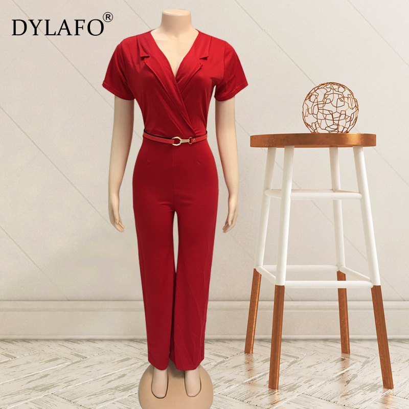 2020 Women Summer Jumpsuit Rompers Soild V Neck Short Sleeve Skinny Casual Jumpsuit Long Sash Women Overalls Long Pants Outfits