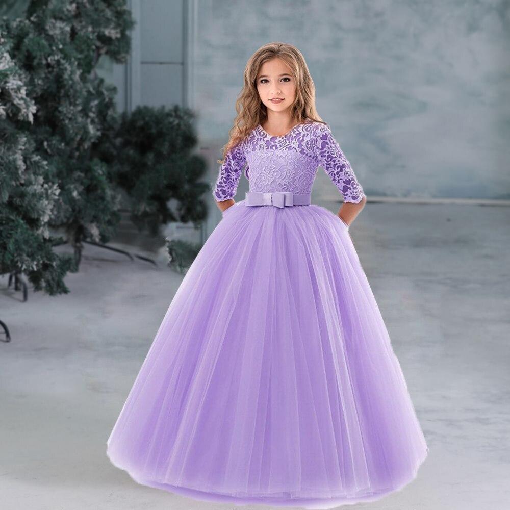 Flower Girl's Birthday Banquet Long Sleeve Lace Dress Elegant Kid's Wedding Long White Dress Children Communion Evening Dress 3