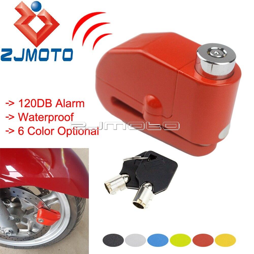 Motorcycle Protection 120DB Alarm Lock Anti-theft Brake Disc Lock Scooter Motocross Waterproof 6mm Brake Disc Security Lock