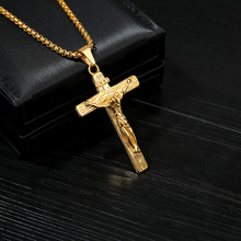 Gold Cross Pendant Neckalce for Men Women Lucky Christian Necklace Girls Classic Jesus Christ Pendants Gifts