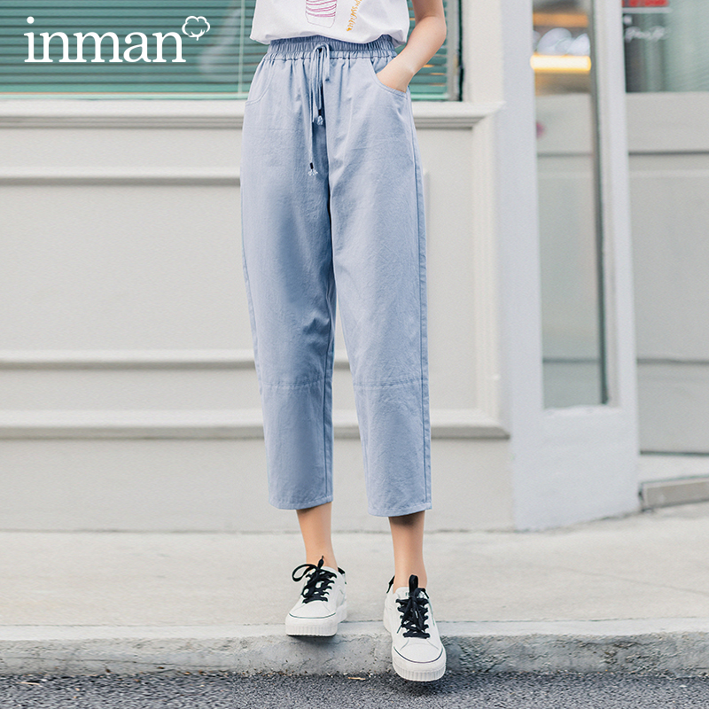 INMAN 2020 Summer New Arrival Sport Causal Style Fit Type Mid Waist Elastic String Tenths Haren Pants