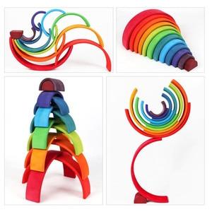 Image 5 - ของเล่นเด็กขนาดใหญ่Rainbow Stackerไม้ของเล่นสำหรับเด็กCreative Rainbow Building Blocks Montessoriของเล่นเพื่อการศึกษาเด็ก