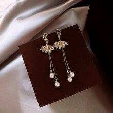 Bailando espíritu vestido de noche largo pendientes de borla Mujer sexy colgante de perlas pendientes aguja de plata pendientes de fiesta
