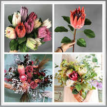 Emperor Flower Artificial Africa Protea Cynaroides Silk King Flowers Branches Fake Flores White Big Red for Home Decoration 67cm
