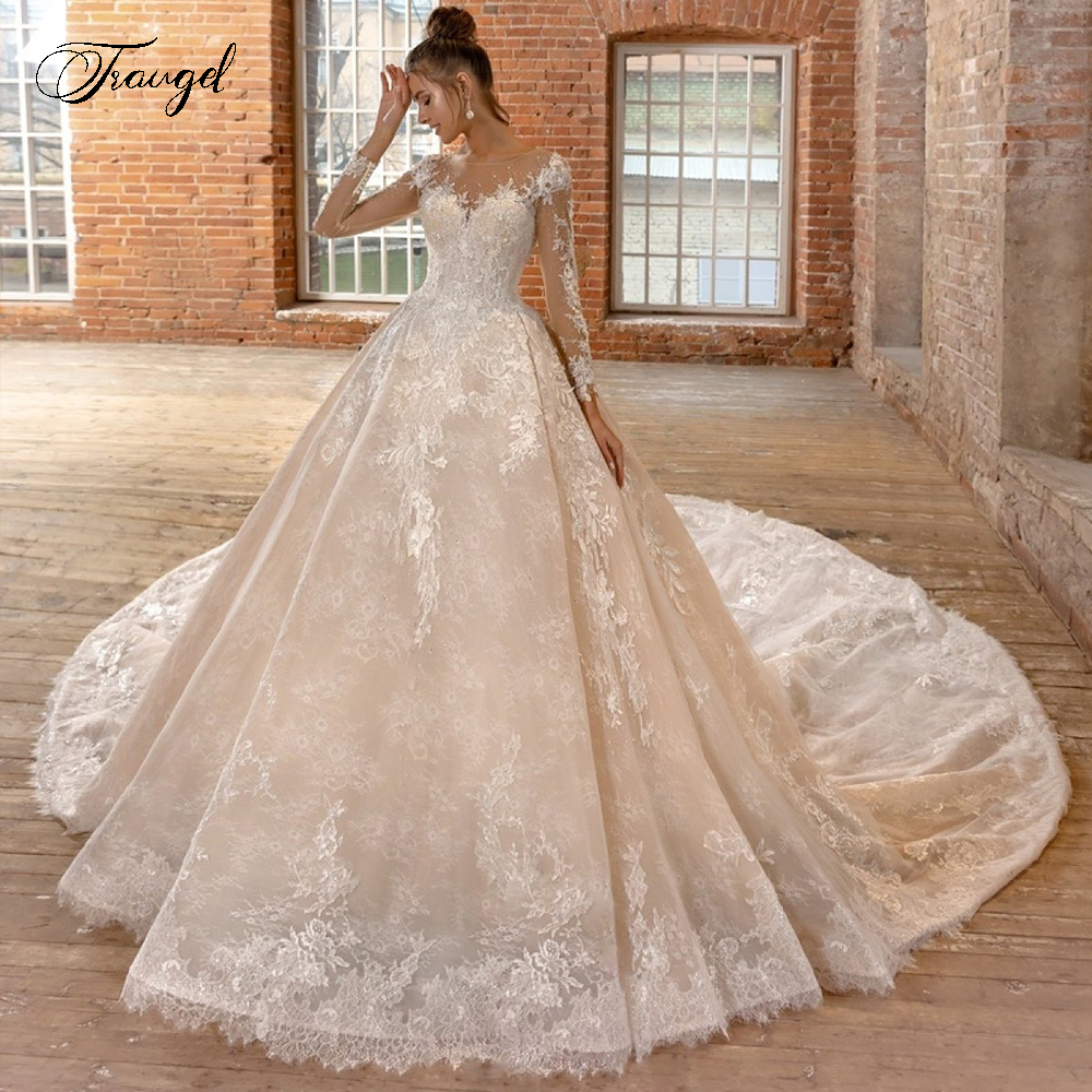 Traugel Scoop A Line Lace Wedding Dresses Applique Beading Long Sleeve Lace Up Bride Dress Cathedral Train Bridal Gown Plus Size