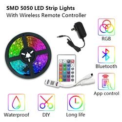5M 10M 20M Bluetooth Smart LED Strip 5050 RGB Strip LED Light Flexible Ribbon Stripe DC12V RGB Diode Tape IR Controller Adapter