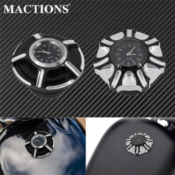 Motorcycle Fuel Gas Tank Decorative Oil Cap Cover With Clocks For Harley Sportster XL Dyna 92-Up Touring Road King Softail FXDB pop up fuel tank screw motorcycle for harley sportster 883 1200 xl883 1200 48 72softail dyna touring 1996 2016 gas cap oil cover