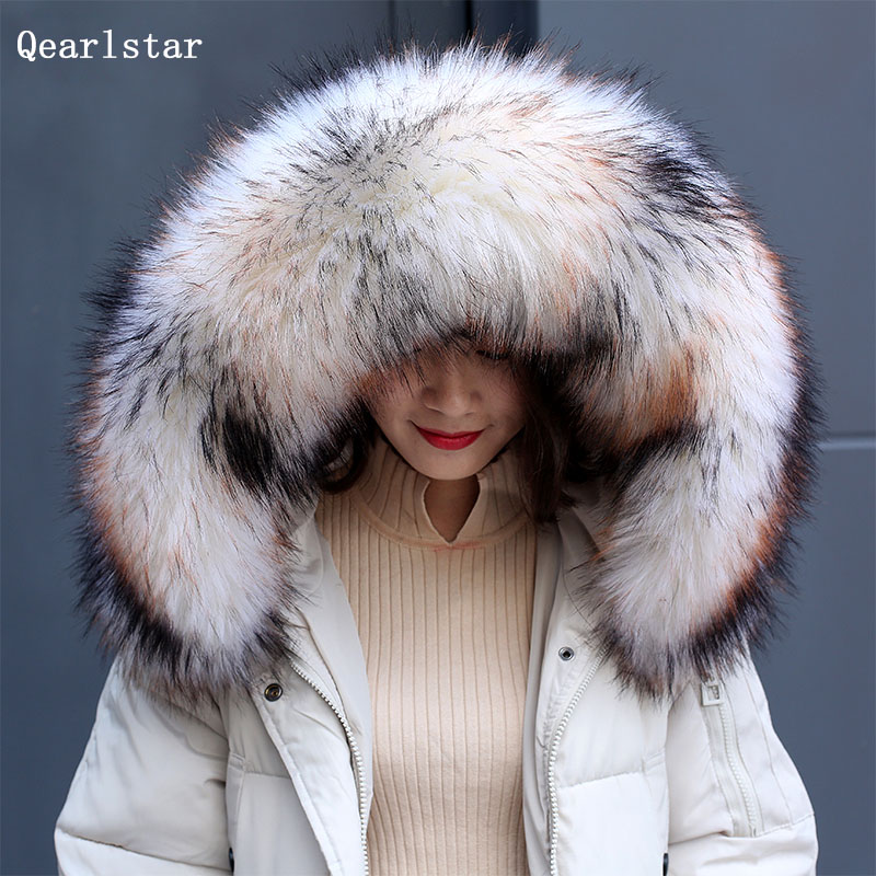 New arrival faux Raccoon fur collar Winter Women scarf winter jackets hood fur decor shawl multicolor men coat fur collar FY50