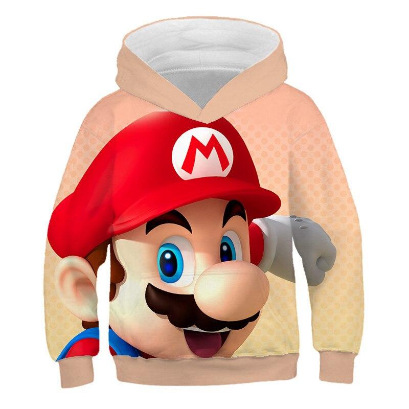 Kids Super Mario Sonic Hooded Sweatshirt Cartoon Pullover Hoodie Jumper Coat Top